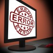 Error On Monitor Showing Mistakes — Zdjęcie stockowe