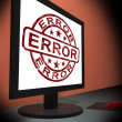 Error On Monitor Showing Mistakes — Stock Photo