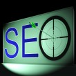 Seo Target Shows Search Engine Optimization And Promotion — Stock Photo