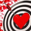 Heart Target Shows Success In Romance - Stock Photo