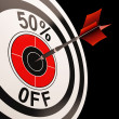 Stock Photo: 50 Percent Off Shows Percentage Reduction On Price