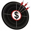Dollar Target Shows Bucks Cash And Wealth — Stock Photo #22263053
