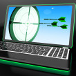 Arrows Aiming On Laptop Showing Extreme Accuracy — Stock Photo