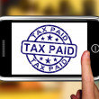 Stock Photo: Tax Paid On Smartphone Shows Payment Confirmation