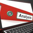 Анализ файлов на ноутбуке показывая проанализированные данные — Стоковое фото