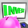 Stock Photo: Invest Screen Shows Growing Stocks For Investor