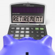 Stock Photo: Retirement On Calculator Shows Elderly Work Retired