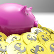 Piggybank Surrounded In Coins Shows Britain Finances — Stockfoto