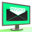 Invoice In Envelope On Monitor Shows Receipts — Stok fotoğraf