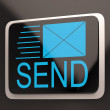 Stock Photo: Send Envelope Shows Email Message Inbox Online
