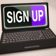 Stock Photo: Sign Up Button On Laptop Shows Website Registration