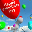 Happy Valentines Day Balloons  Showing Love And Affection — Stock Photo
