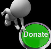 Donate Button Shows Charity Donations And Fundraising — Stock Photo