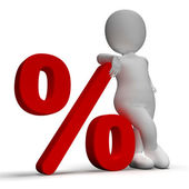 Percent Sign With 3d Man Shows Percentage Or Discount — Stock Photo