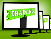 Training On Monitors Showing Coaching Shows — Stock Photo