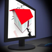 Cracked Foundations On Monitor Shows Crumbling House — Stock Photo