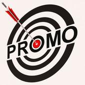 Promo muestra demuestra el anuncio de oferta de descuento promoción — Foto de Stock