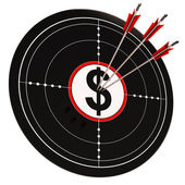 Dollar Target Shows Bucks Cash And Wealth — Stock Photo