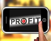 利润在智能手机上的显示的目的是进度 — 图库照片