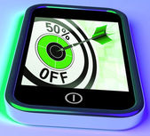 50 Percent Off On Smartphone Showing Great Offers — Stock Photo