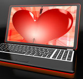 Heart On Laptop Showing Cupid Shot — Stock Photo