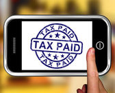 Tax Paid On Smartphone Shows Payment Confirmation — Stock Photo
