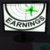 Earnings On Monitor Showing Profitable Incomes — Stock Photo