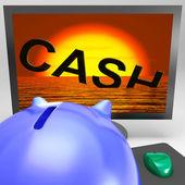 Cash Sinking On Monitor Showing Monetary Crisis — Stock Photo