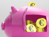 Euros In Piggy Shows Currency And Investment — Stock Photo