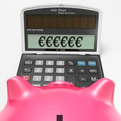 Euros In Calculator Shows Finance In Europe — Stock Photo