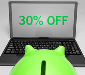 Thirty Percent Off On Notebook Showing Reductions — Stock Photo