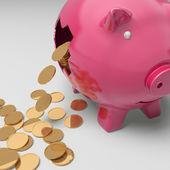 Broken Piggybank Showing Regular Earnings — Stock Photo