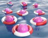 Piggybanks On Lifesavers Showing Monetary Help — Stock Photo