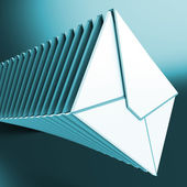 Piled Envelopes Shows Inbox Messages On Computer — Stock Photo