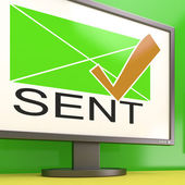 Sent Envelope On Monitor Showing Delivered Messages — Stock Photo