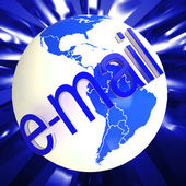 Email At Globe Shows Worldwide Mailing — Stock Photo