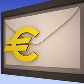 Euro On Envelope Shows European Correspondence — Stock Photo