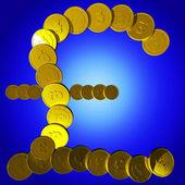 Coins Pound Symbol Shows British Deposit — Stock Photo
