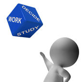 Work Study Dice Showing Choice Of Working Or Studying — Stock Photo