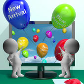 New Arrival Balloons From Computer Showing Latest Products — Stock Photo