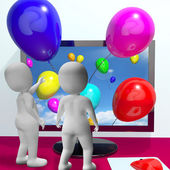 Balloons Coming From Screen Show Online Celebrations Greeting — Stock Photo
