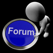 Forum Button Meaning Social Media Community Or Getting Informati — Stock Photo