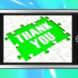 Foto Stock: Thank You On Smartphone Shows Gratitude Texts And Appreciation