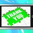 Thank You On Smartphone Shows Gratitude Texts And Appreciation — Stok fotoğraf