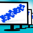 Stock Photo: 2014 On Monitors Shows Future Calendar