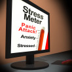 Stress Meter On Laptop Showing Panic Attack — Stock Photo #22271003