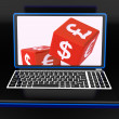 Currencies Dices On Laptop Showing Global Finances - Stock Photo