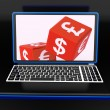 Currencies Dices On Laptop Showing Global Finances — Stock Photo