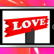 Foto Stock: Love On Smartphone Shows Romance