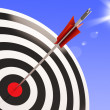 Stock Photo: Bulls eye Target Shows Performance Goal Achieved